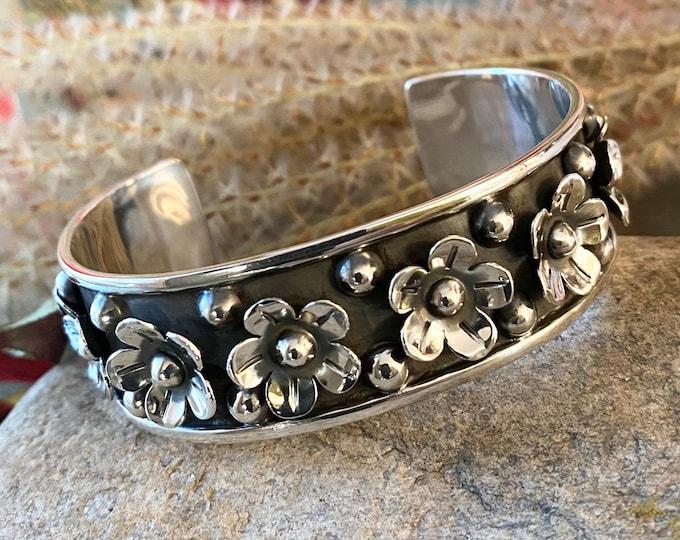 Sterling Silver Southwestern Style Flower Cuff Bracelet