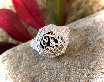 Sterling Silver Monogrammed Ring-Vintage Style