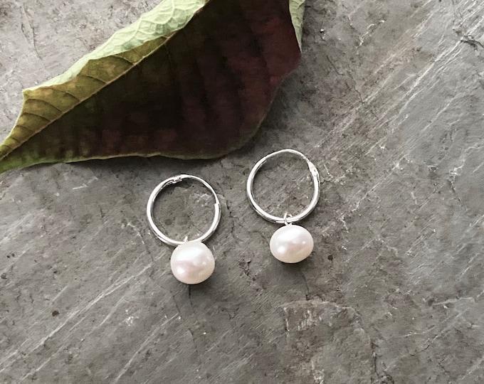 Sterling Silver Hoop Earrings with Pearl Dangle