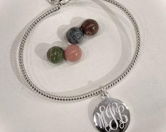 Sterling Silver Monogram Charm Bracelet with Rope Twist Bracelet