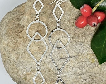 Long Hammered Geometric Shapes Sterling Silver Earrings