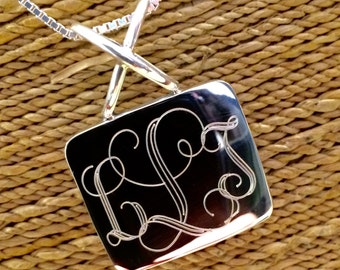 Sterling Silver Monogrammed Necklace -Rectangle Shaped