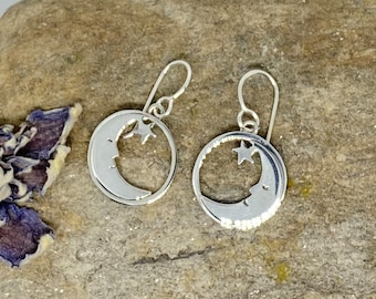 Moon and Star 925 Sterling Silver Earrings