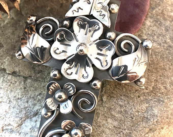 Sterling Silver Large Ornate Cross Pendant