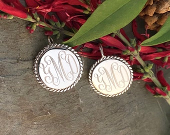 Sterling Silver Monogrammed Large Earrings with Rope Edge