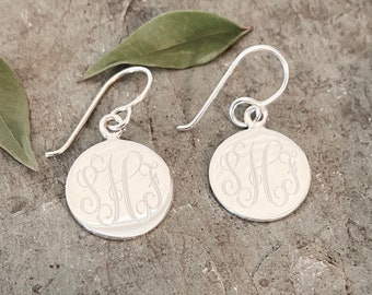 Sterling Silver 16MM Monogrammed Earrings