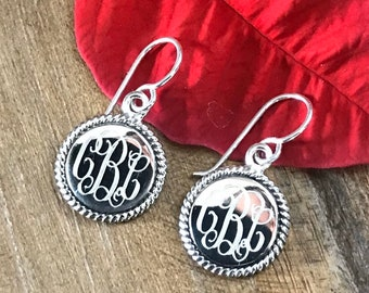 Sterling Silver Monogrammed Earrings with Rope Edge