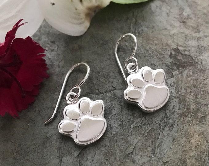Sterling Silver Paw Earrings