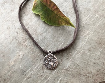 Sterling Silver Bee Pendant with Leather Necklace
