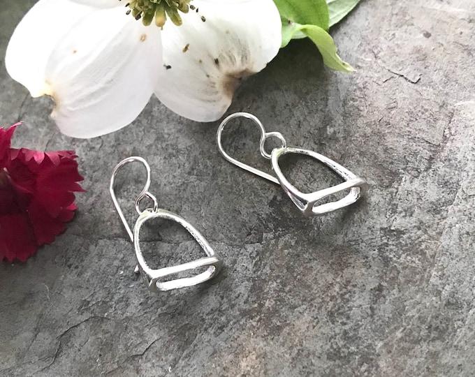 Sterling Silver Equestrian Horse Stirrup Earrings