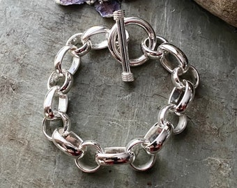 Sterling Silver Heavy Oval and Round Link Bracelet
