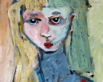 "Title: ""Secret Keeper""  Original Acrylic Painting by Jacquline Hurlbert."