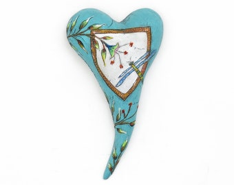 "Title: ""Dragon Dance""  Ceramic Heart, wall art, Jacquline Hurlbert, one of a kind, unique."