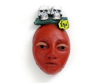 """Title: """"Til Death Do Us Part"""" Ceramic Face, wall art, Jacquline Hurlbert, one of a kind, unique."""