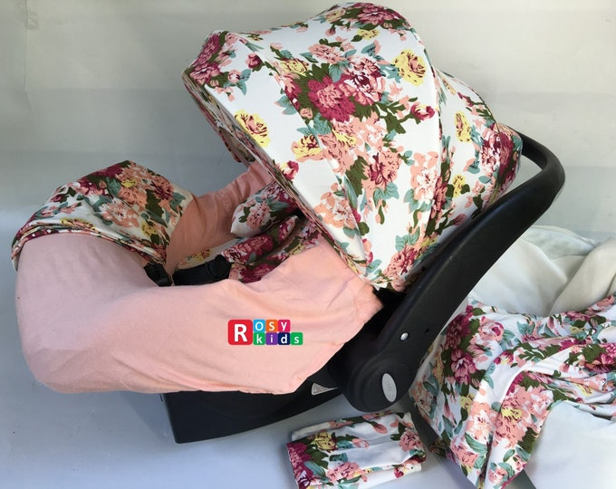 c6e57e3ae0d 9pc Baby Boy Baby Girl Ultimate Set of Infant Car Seat Cover Canopy  Headrest Blanket Hat