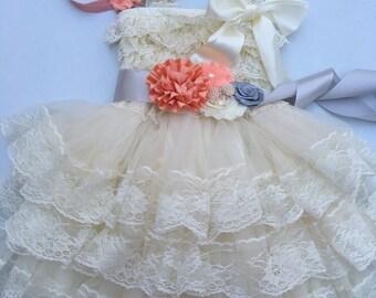 90ff3666f1af 45%off SALE Extra Full Flower Girl Lace Dress