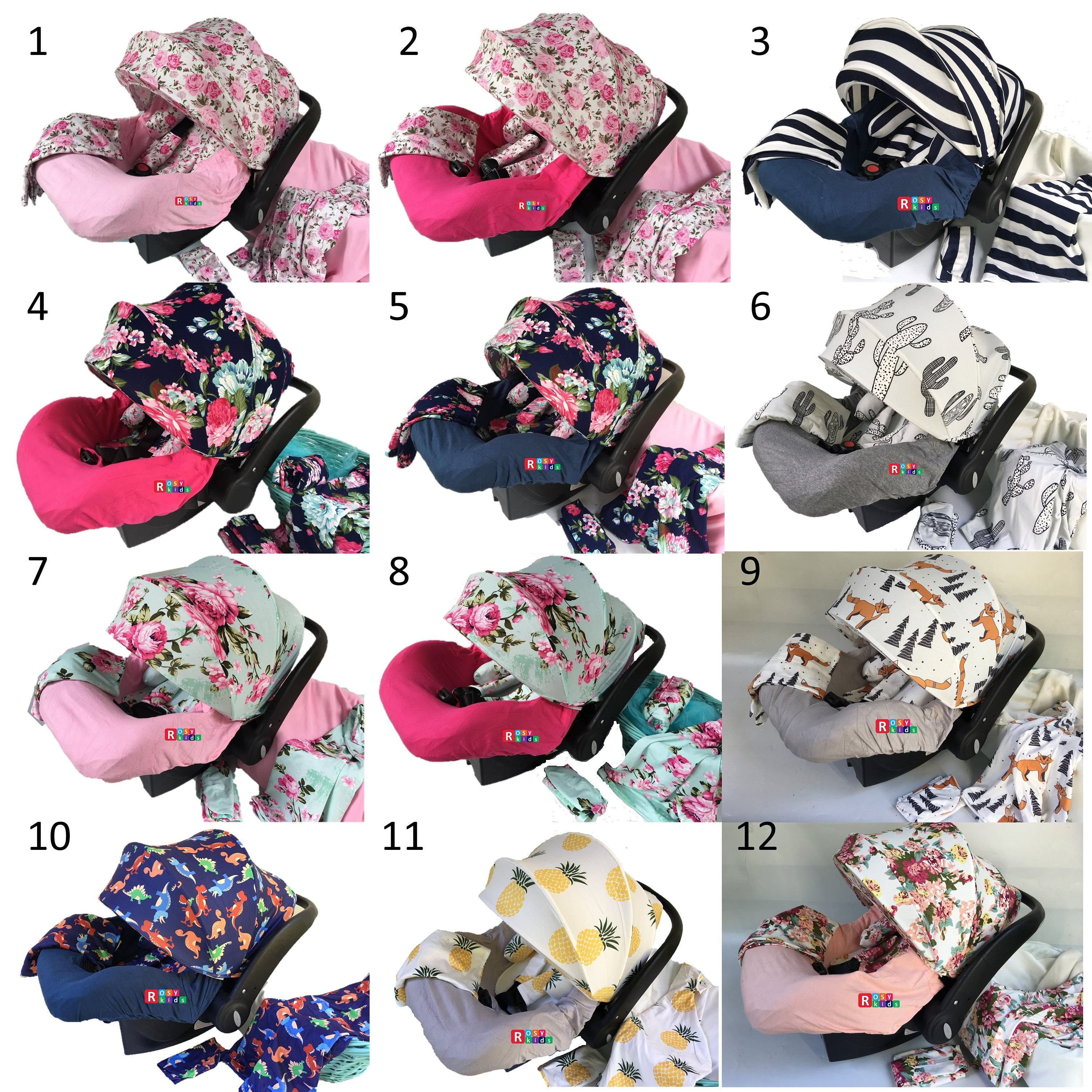 9pc Baby Boy Girl Ultimate Set Of Infant Car Seat Cover Canopy