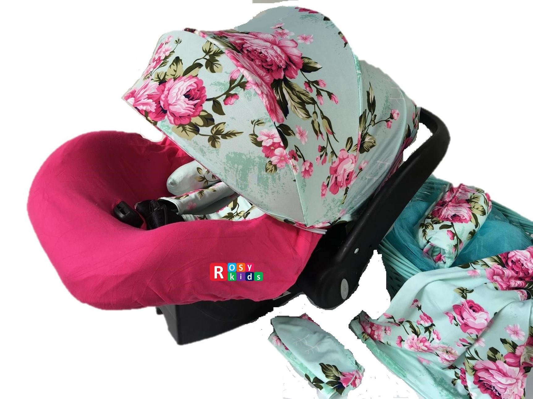 9pc Baby Boy Girl Ultimate Set Of Infant Car Seat Cover Canopy Headrest Blanket Hat Nursing Scarf