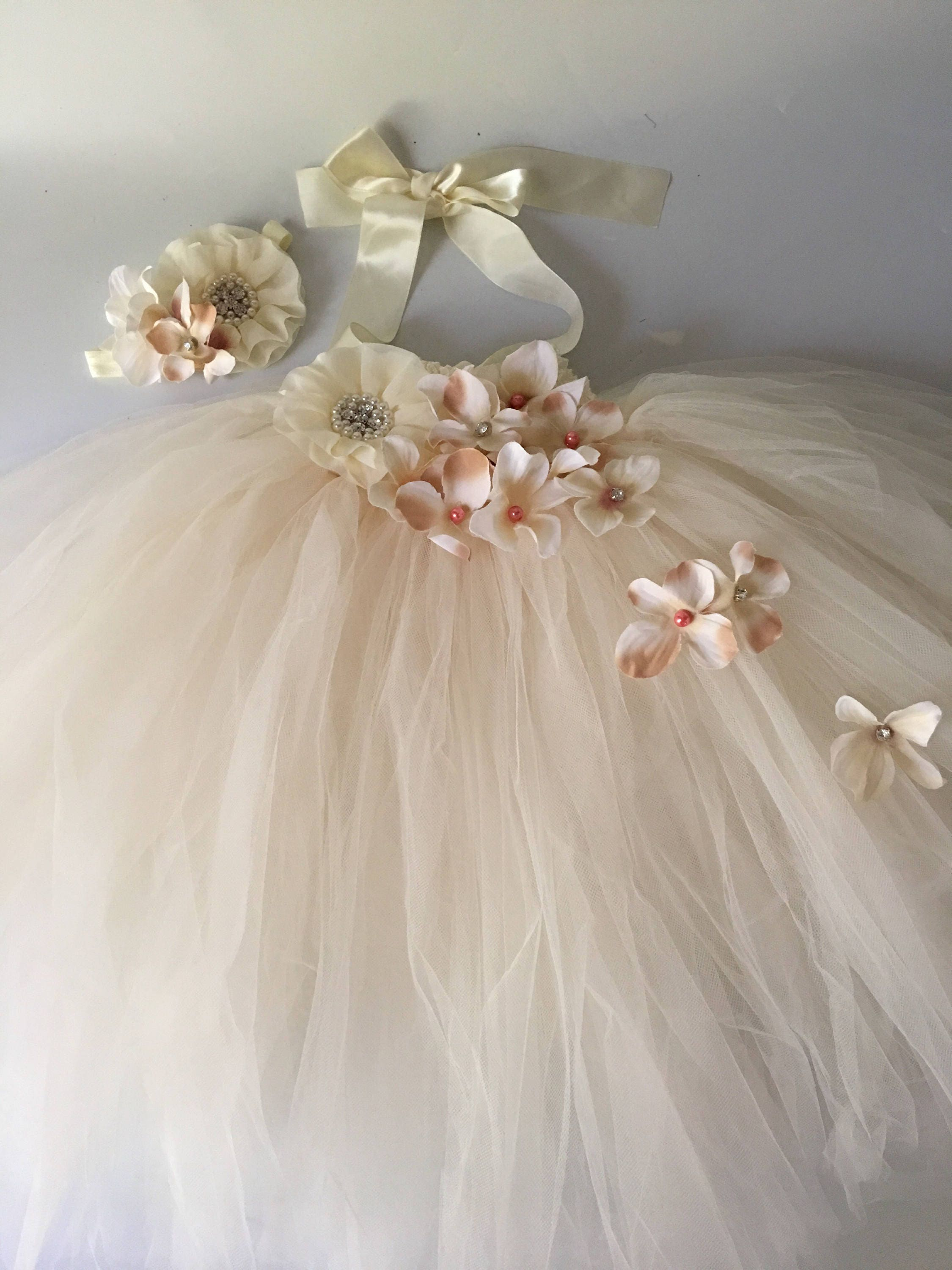 a945825e413 Rustic blush ivory flower girl dress flower girl tutu dress