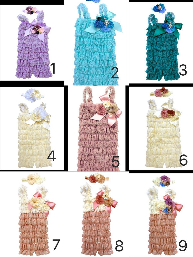 9b00663da5e99 Vintage baby lace posh petti ruffle romper headband set girl rompers baby  girl jump suit baby outfit lot kids clothes