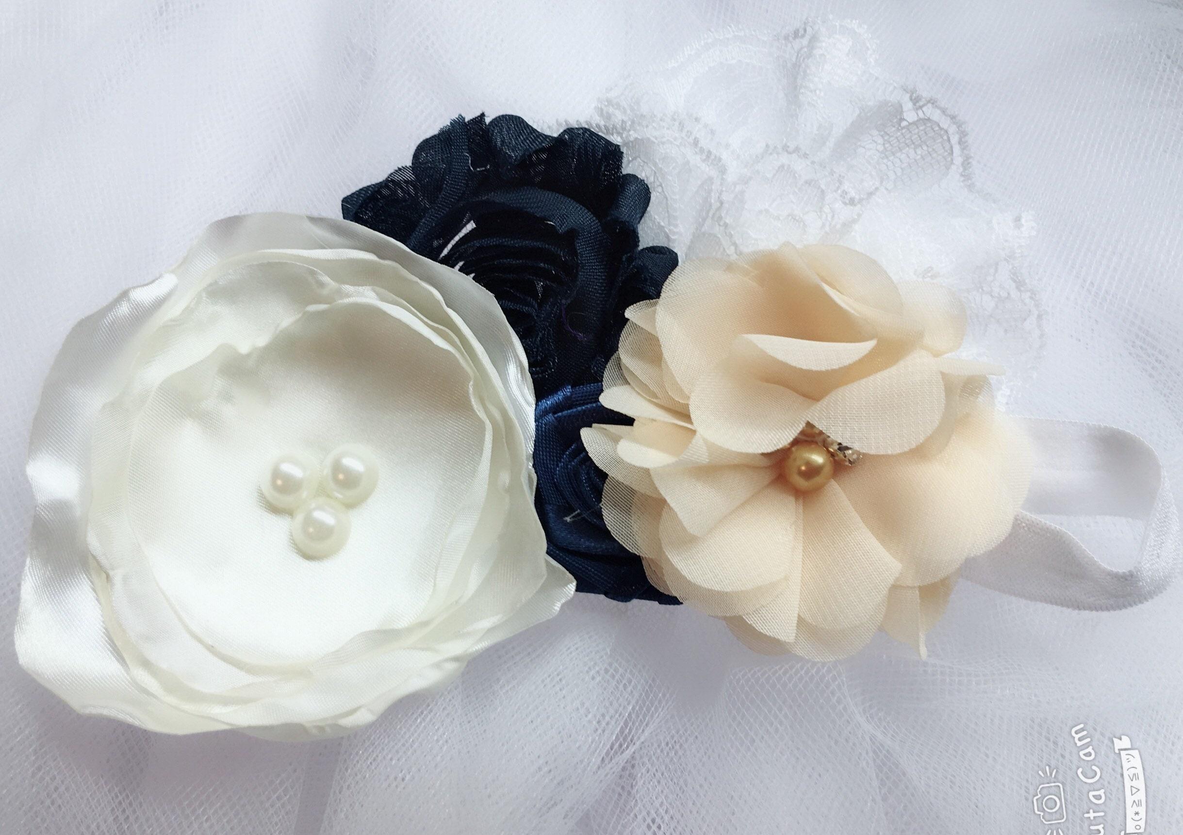 Rustic White Navy Blue Flower Girl Dress Flower Girl Tutu Dress