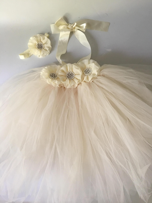 Rustic ivory flower girl dress flower girl tutu dress wedding flower ...