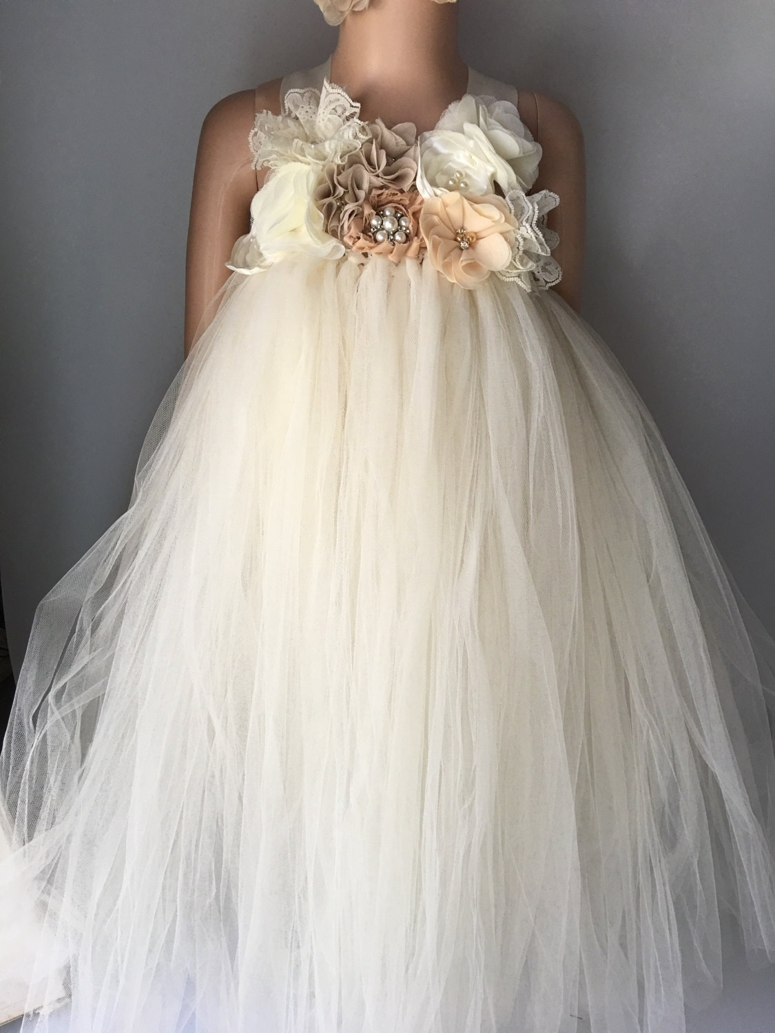 Rustic Ivory Champagne Flower Girl Dress Flower Girl Tutu Dress