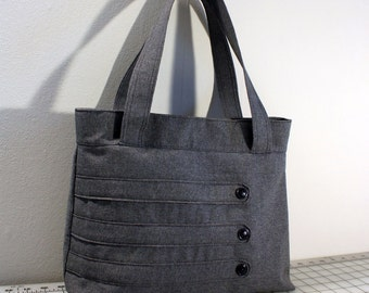 Medium Tote Bag with Decorative Straps in Dark Gray b7307e7b47987