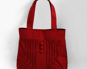 Pintuck Purse with Buttons in Burgundy