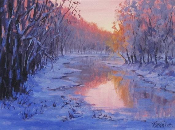 First Light 3 Original winter river sunrise painting   Etsy