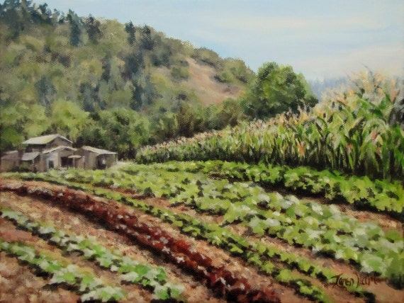 All in a Row Small Original Farm Vegetable Garden Painting ...