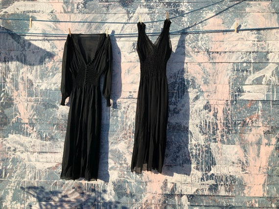 Sheer Black Dress Duo - Vintage - Black
