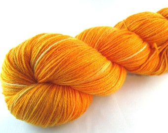 Pumpkinhead: orange sock yarn, hand dyed sock yarn, bright orange, pumpkin, knitting yarn, crochet yarn, fingering weight