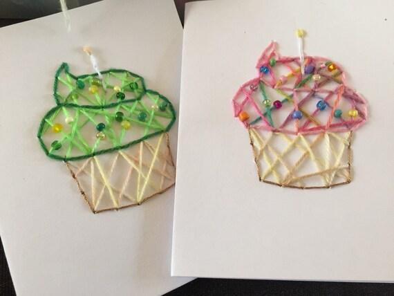 Personalised Handmade Vintage Bunting Cupcakes Birthday Card