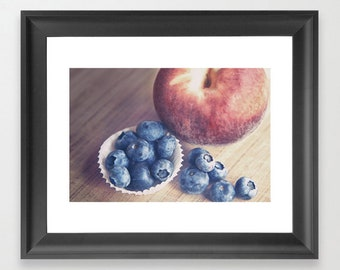 Fruit Photograph, Farmhouse Decor, Kitchen Print, Farm Kitchen, Peach Photograph, Blueberries, Still Life Photo