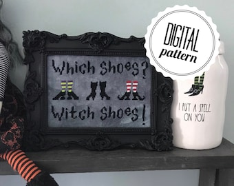 Witch Shoes - PDF Pattern - Digital Download - Witchy Cross Stitch Pattern