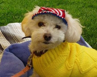 Size Small Patriotic Print Dog Visor Hat - Doggy SuperVisor