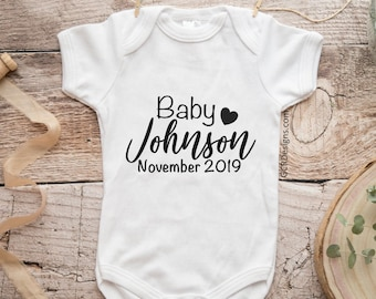 40d5acf61 Personalized Baby Announcement Onesie, Personalized Baby Onesie, Baby Onesie  Announcement, Pregnancy Announcement Onesie, Pregnancy Reveal