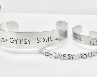 Gypsy Soul Cuff Bracelets Mantra Jewelry Mantra Bracelet Stamped Jewelry Hand Stamped bracelet For Strong Women Metal Bracelet Custom Quote