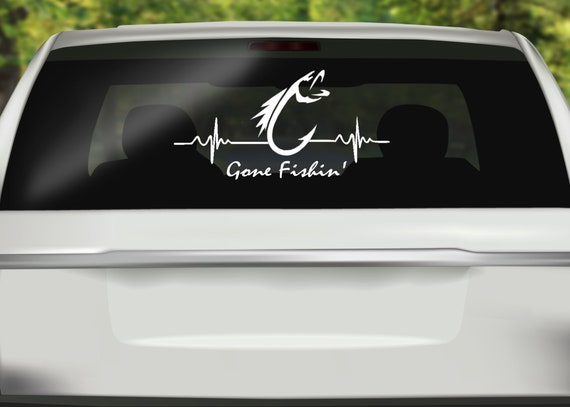 Monogram  Car// Truck Vinyl Decal Gone Fishing Design 3 Sizes Sticker