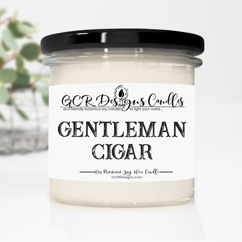 Gentleman Cigar Soy Candle Hand poured Vegan Tobacco image 0