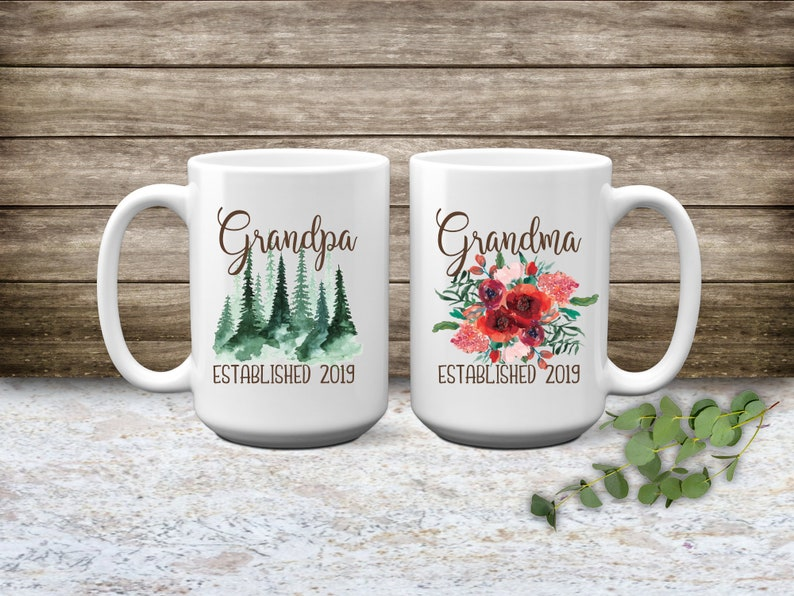 Grandparents Pregnancy Reveal  Grandparents mug set image 0