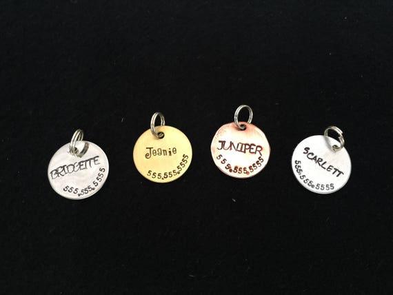 "3/4"" - Small Pet Tag - Pet ID Tag - Collar Tag - Dog Tag - Personalized Pet/Dog tag - Dog ID tag - Pet Accessories - Brass - Copper- Steel"