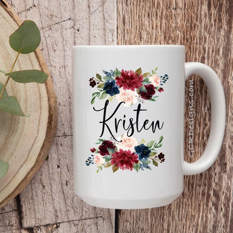 Personalized Coffee Mug Personalized Name Mug Floral Custom image 0