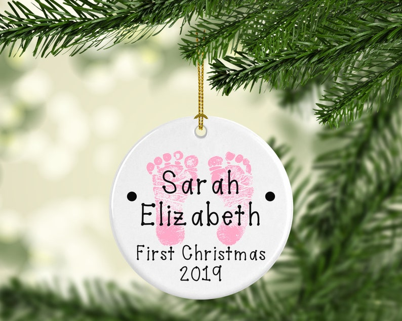 Baby's First Christmas Personalized ornaments Girl- Pink