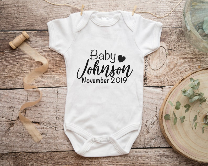 Personalized Baby Announcement Onesie Personalized Baby image 0