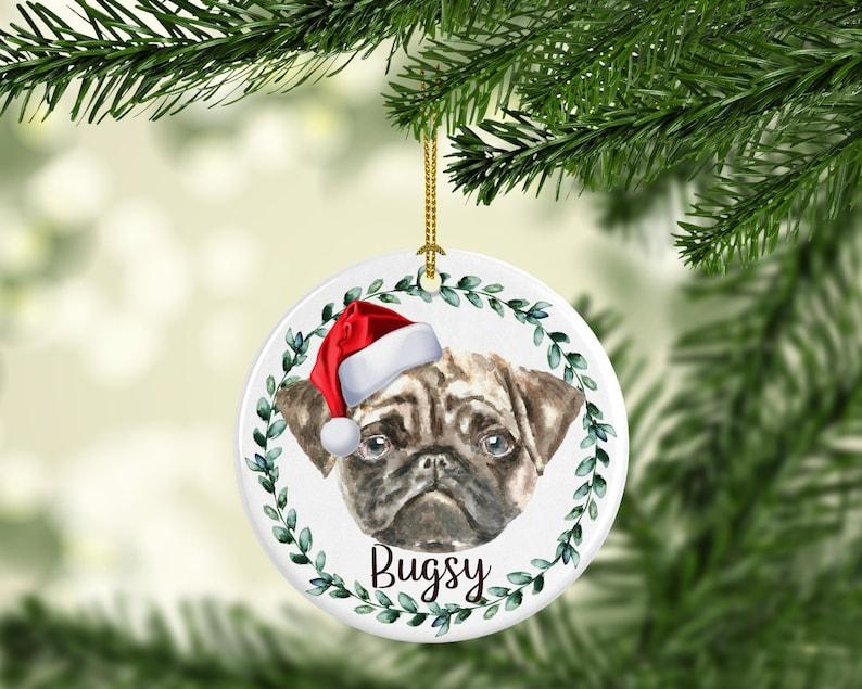 Pug Dog Personalized Dog Ornament Personalized Dog Christmas image 0