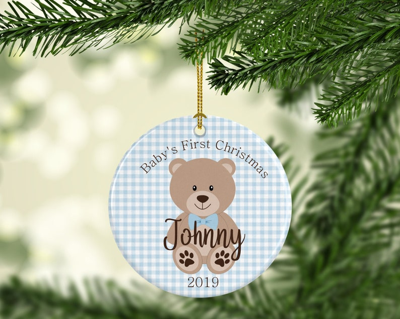 Baby's First Christmas Ornament personalized with year & Boy- Blue