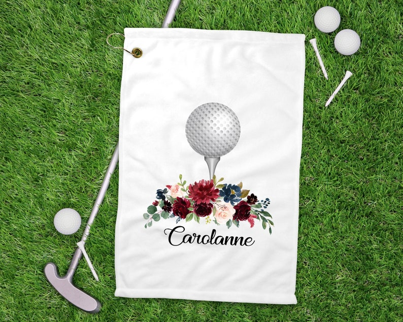 Custom Order Floral Personalized Golf Towel Golf Accessories image 0