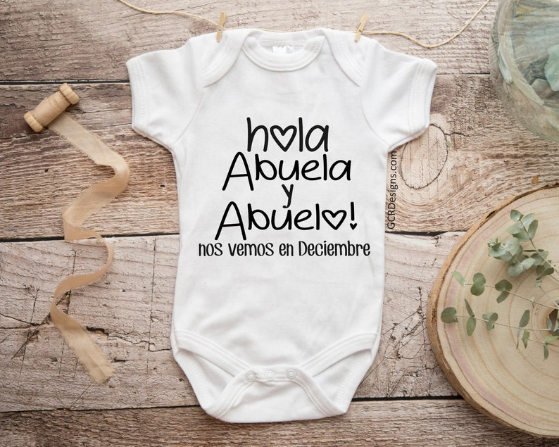Spanish Hola Abuela y Abuelo Pregnancy Announcement Baby image 0